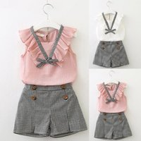 Toddler Kids Baby Girls Outfits Clothes Bowknot Vest Tops+Plaid Shorts Pants Set Sleeveless Summer Vest fashion girls set