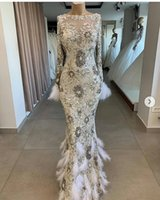Luxury Sparkly Sequined Mermaid Prom Dress With Feathers Sexy Long Sleeves Sheath Evening Gown Formal Party Pageant Gown