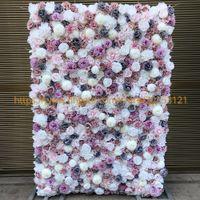 3D Artificial Flower Wall Sfondo di nozze New Dahlia Austin Rose prato pilastro falso fiore Runner Plate Road piombo casa