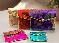 Pas cher Floral Zip soie Pochette Sacs POCHETTE Sac cadeau Pouches chinois brocart bijoux poche Mini sac Monnaie gros 6x8 cm 8x10 cm 12pcs / lo