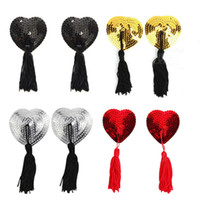 NIPPLE TASSELS Stick On Nipple Jewellery Sequin Tassels Brea...