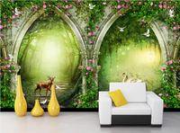 Frischer Traumwaldbogenblume Weinschwan Hirten Fernsehhintergrundwandtapete für Wände 3 d
