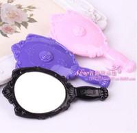 Espejos de mano vintage Rose Cosmetic Plastic Makeup Mirror Cute Girl Herramientas de maquillaje de manos Shank Mirror DHL