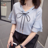 2019 Women blouse Shirt Bow Casual Chiffon Shirt Solid offic...