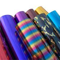 O envio gratuito de 1 folha 25cmx30cm transferência metálica Calor Vinyl metal leve Sequins PVC Imprensa Camiseta Iron On HTV Printing