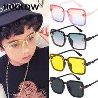 HOOLDW 새로운 특대 광장 키즈 선글라스 어린이 태양 안경 소년 소녀 야외 여행 UV400 안경