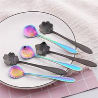 Aço inoxidável preto do arco-íris Spoons Flor Sobremesa Coffee Spoons açúcar Colheres Talheres 8 Designs para a escolha