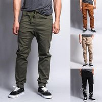 Trousers Mens Ankle Banded Cargo Pants Casual Solid Color Loose Drawstring Pencil Pants Mens Casual Jogger