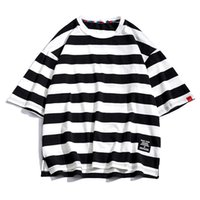 T Shirt Mens Cotton Tshirt Striped For Men Tee Summer Japanese Casual T-shirts Streetwear Fitness Tees Oversized hip hop