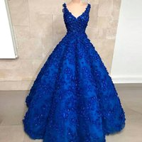 Abiti blu royal Quinceanera con fiori 3D Crystal Sweet 16 Abiti 2019 Custom Made Long Prom Dress