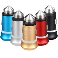 Mini 5V 3.1A Dual USB-порты Молоток безопасности Металлический сплав Светодиодные автомобильные зарядки для iPhone Samsung HTC GPS PC