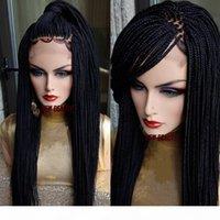 200Densitschaft Voller Micro Box-Zöpfe Perücke Schwarz Braun Burgund Blondine Farbe Synthetische Flechte Haarperücke Afrika Frauen Stil Spitze Front Fabser Perücke