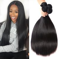 Бразильский Straight Remy человеческих волос Пучки Сырье Индийский перуанский Малазийские монгольской Наращивание волос Remy 8-26 дюймов кутикулы выравниванием волос