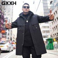 Taglia lungo cappotto grande vantaggio GXXH Autunno Inverno nuovo disegno di trincea uomini Trench uomo con cappuccio moda maschile 7XL Oversize Cappotti