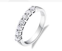 Drop Shipping 0.42CT 7 Taşlar Moissanit Elmas Nişan Yüzüğü Güzel 18 K Beyaz Katı Altın Takı Yüzükler Kadınlar için AU750 Stapmed Toptan