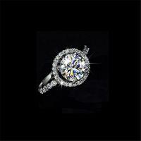 Nieuwe Sprankelende Luxe Sieraden 925 Sterling Zilver Ronde Cut White Topaz CZ Diamond edelstenen Belofte Vrouwen Bruiloft Bridal Ring Gift Maat 5-10
