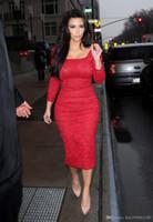 2019 새로운 섹시한 공식 드레스 Vestidos 무릎 길이 김 Kardashian 레드 카펫 드레스 긴 소매 레드 레이스 연예인 드레스 이브닝 드레스 015