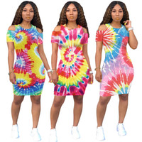Sexy Casual Tie- dye Printed Bodycon Dress for Women Fashion ...
