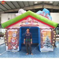 4x4 متر تصميم جديد كبير في الهواء الطلق زينة عيد الميلاد نفخ سانتا الكهف نفخ منزل عيد الميلاد نفخ سانتا منزل