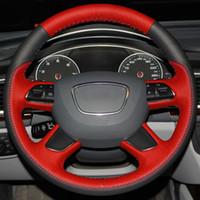 Couture bricolage à la main couverture en cuir véritable noir rouge volant pour Audi A3 (8V) A8 (D4) Q7 Q3 Q5 A4 (B8) A6 (C7)