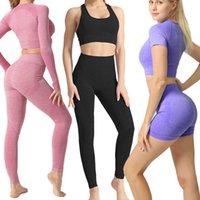 النساء سلس مجموعة اليوغا ملابس تجريب رياضة gym الملابس للياقة البدنية قصيرة / طويلة الأكمام الدعاوى المحاصيل الأعلى عالية الخصر اللباس الداخلي بانت الرياضة T200617