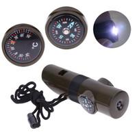 7 em 1 Outdoor Multifuncional Militar Survival Kit Lupa Apito Bússola Termômetro com LED Light NY100