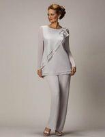 2020 Seksi Plus Size Gelin Damat Boncuklu şifon Düğün Abiye Giyim Gümüş Balo Elbise Annesi İçin Anneler Pantolon Suit