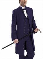 Kostüm Männer 3 Stück Stilvolle Gothic Stehkragen Suits Set Hochzeit Steampunk langer Blazer-Jacke für Bankett-Partei Cosplay
