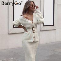 BerryGo из двух частей женщин трикотажное платье набор элегантный осень зима свитер платье костюмы с длинным рукавом кнопка пояса чистая юбка костюм