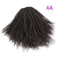 Brasileira VMAE Natural Negro 100g 120g 3A 3B 3C 4A 4B 4C Cavalinha apertado furo encaracolado humano Remy cabelo com cordão Ponytails