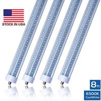 T8 tubos de LED luzes em forma de V 8 pés 7000LM 66W único pino FA8 R17D AC85-265V 384LEDs 2835SMD bulbos fluorescentes 2.400 milímetros Direto da China Factory
