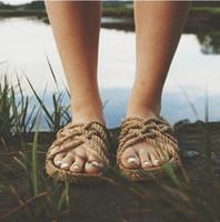 Corde Vente-Gladiator Hot Sandales pour Femmes Hommes Chaussures d'été naturel sandales de plage Slides Tongs main Beige
