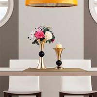 골드 컬러 촛대 기사 축하 파티 장식 낭만적 인 검은 공 꽃 정렬 기관 웨딩 센터 피스 촛불 18hs L1