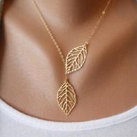 Простой европейский новая мода старинные панк золото полые два листа листья ожерелье ключицы цепи очарование ювелирные изделия женщины YD0056