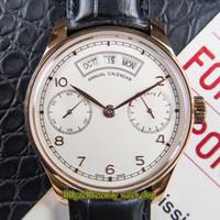 DMF V2 Обновление версии Portugieser 503504 белый циферблат Запас хода 52850 Автоматическая Мужские часы 18K розового золота кожаный ремешок Спортивные часы