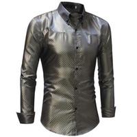 실크 셔츠는 남성 2018 새틴 부드러운 남자 그리드 셔츠 비즈니스 슈 옴므 캐주얼 슬림 맞추기 빛나는 골드 웨딩 드레스 셔츠
