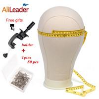 21 Alileader 22 23 24 25inch Profesyonel Tuval Blok Manken Baş İçin Peruk Kiti Beyaz Manken Baş ile Pins Standı Yapımı