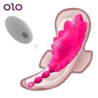 OLO borboleta vibrador Calcinhas Usar Invisible Controle Remoto períneo ânus massagem Sex Toys for Women Clitóris Estimulador MX191228