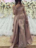 Sexy abiti da sera arabo indossare per le donne fuori dalla spalla sirena maniche lunghe overskirts in pizzo cristallo in rilievo in rilievo abito da ballo abito da ballo