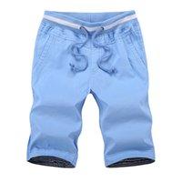 Mens-Sommer-Shorts Cotton Solid Color Strandshorts Male lose Drawstring beiläufige Sport-Shorts asiatische Größe M-4XL
