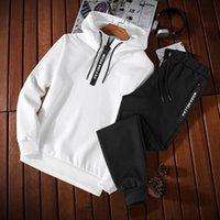액티브 봄 새로운 남성 운동복 두 조각 세트 풀오버 스웨트 셔츠 + 바지 스포츠웨어 남성 정장 스웨터 동향 아시아 크기 M -5xl