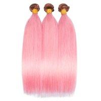 Due tonalità marrone scuro e rosa capelli umani bundles ombre colore setoso dritto vergine capelli umani wefts piano colore capelli capelli 3bundles