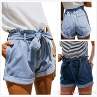 Tie Waist Denim Shorts Women Hot Pants Summer High Waist Fas...