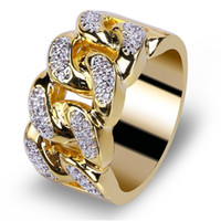 Hip Hop Gold Rings All Iced Out Micro Pave Cubic Zircon 13mm...