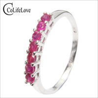 Classic ruby engagement ring for girl 7 pcs 2. 2 mm natural A...