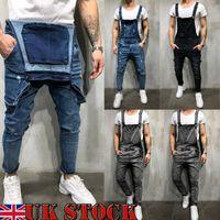 Moda Erkekler Ripped Skinny Jeans Tahrip Yıpranmış İnce Denim Pantolon tulumları Fermuar