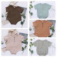 أطفال مصمم ملابس الطفل الصيف قصيرة الأكمام حللا الوليد القطن الكتان السروال القصير الطفل عارضة تنفس الصلبة ارتداءها 5 اللون ZYQA456