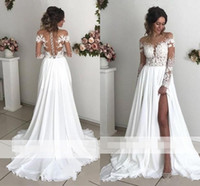 Exquisite Lace Chiffon A- Line Wedding Dresses 2019 Sheer Nec...