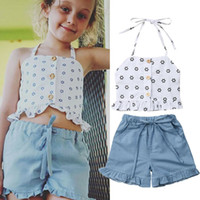 Toddler Kid Baby Girl Clothes Strap Top+ Denim Shorts Pants S...