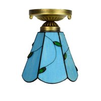 6 بوصة تيفاني ستايل أضواء السقف الزجاج الملون فنادق قضبان مطاعم مصباح سقف صغير أزرق أوراق الفن ديكو ضوء الزجاج DS063